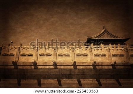Close up of the Marble Railings in Forbidden City in Vintage Style - stock photo