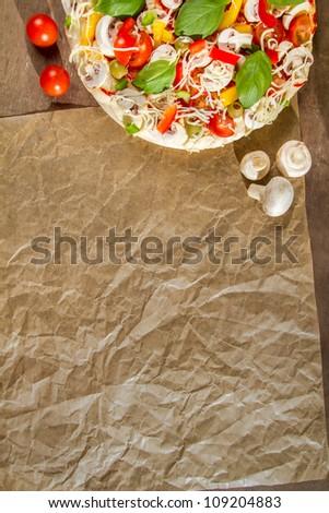 Close-up of the menu background for pizzerias No. 1 - stock photo