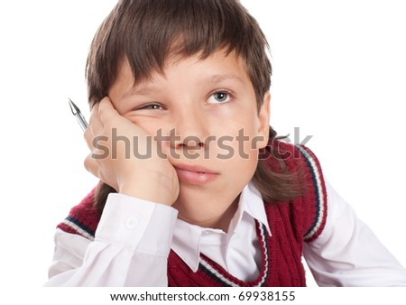 Close up of the missing boy satchel isolated on a white - stock photo