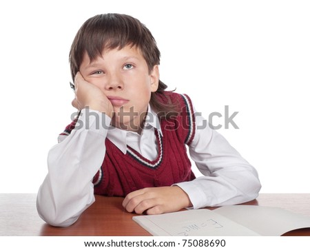 Close up of the missing schoolboy isolated on a white - stock photo