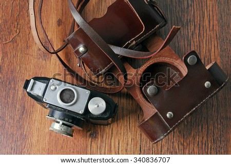 close up of the old photo camera - stock photo