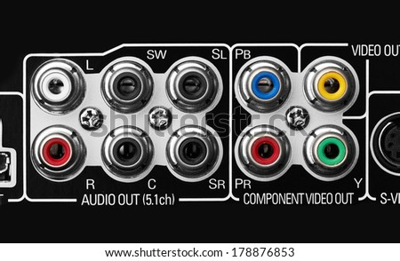 Close up of the plugs for the 5.1 surround sound system in a DVD player - stock photo