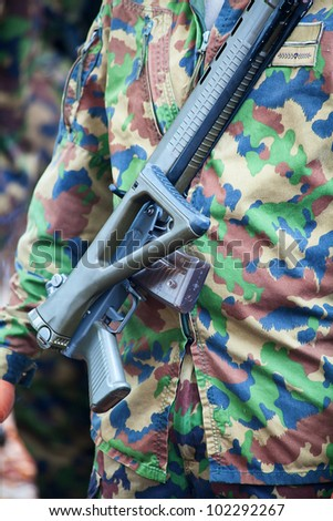 Close-up of the swiss army uniform - stock photo