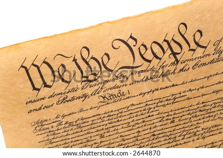 Close-up of the U.S. Constitution. - stock photo