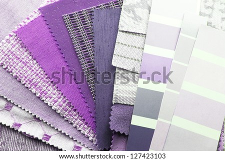 close up of the upholstery texture color samples - stock photo