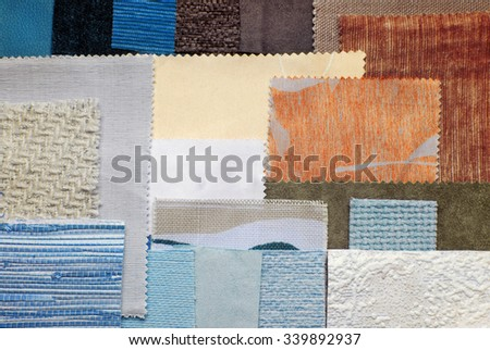 close up of the various fabric swatches - stock photo