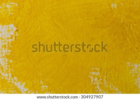 Close up of the yellow paint strokes texture - stock photo