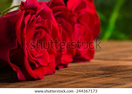 Close up of three bright red roses - stock photo