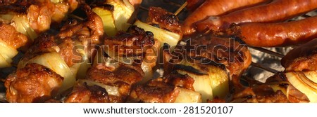 Close-up of toasted shish kebabs on hot barbecue - stock photo
