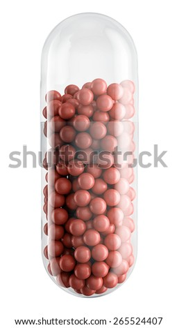 Close up of transparent pill capsule with red granules isolated on white, 3d illustration - stock photo