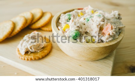 Close up of tuna biscuits. - stock photo