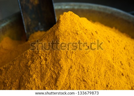 close-up of turmeric spice/Turmeric Powder/Rajasthan,India - stock photo