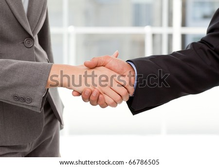 Close up of two businesspeople shaking their hands after a meeting - stock photo