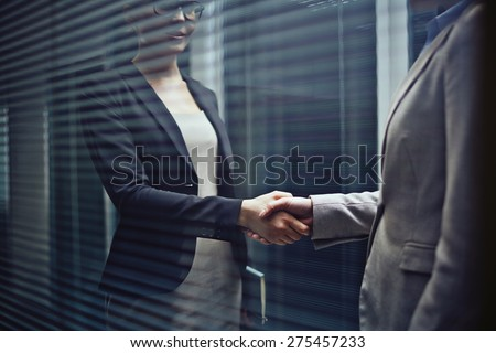 Close-up of two businesswomen handshaking - stock photo