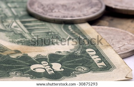 Close up of two dollar bill - stock photo