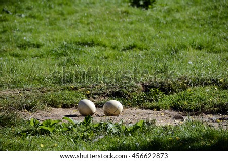 Close up of two ostrich eggs on green lawn - stock photo