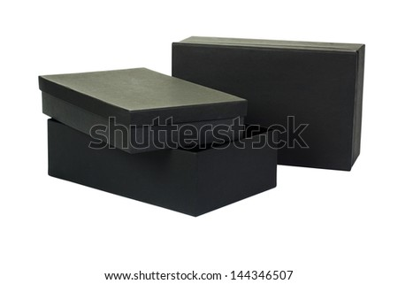 Close-up of two shoe boxes - stock photo
