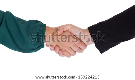 Close up of two women shaking hands, isolated on white - stock photo