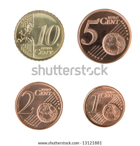 Close-up of uncirculated 1, 2, 5, and 10 Euro cent coins. - stock photo