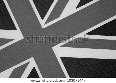 Close up of Union Jack on Tilted Angle in Black and White - stock photo