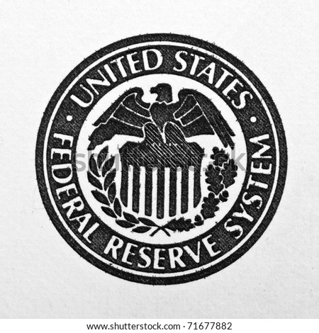 Close-up of United States Federal Reserve System symbol - stock photo