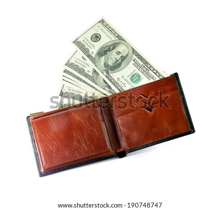 close-up of US dollars in a brown leather wallet isolated on white background, selective focus. - stock photo