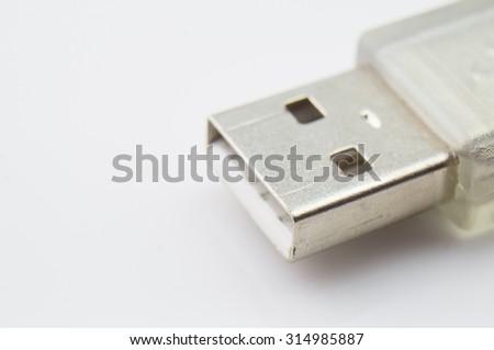 Close-up of USB Cable Plug isolated on White Background - stock photo