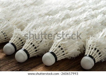 Close up of used shuttlecock arrange in a row, background texture , Studio Shot  - stock photo