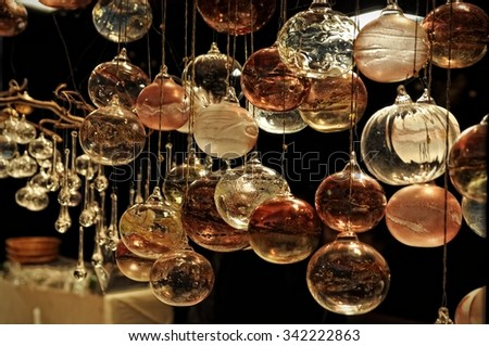 Close-up of variety Christmas decorations on sale at the market in Cologne, Germany - stock photo