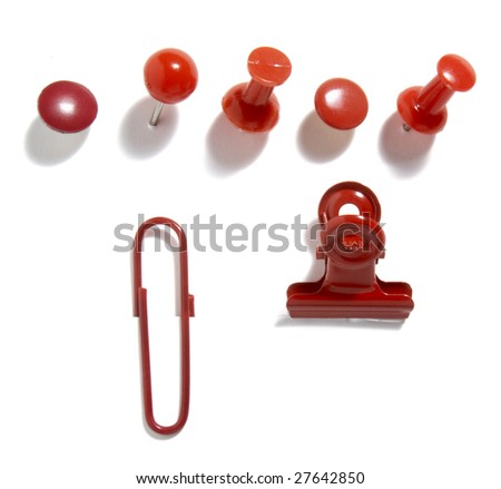 close up of various red pushpins  on white background with clipping path - stock photo