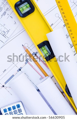 Close-up of various tools for construction and architecture - stock photo