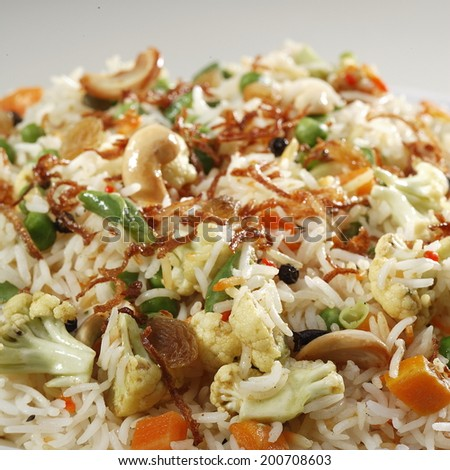 Close up of Vegetable Biryani, India - stock photo