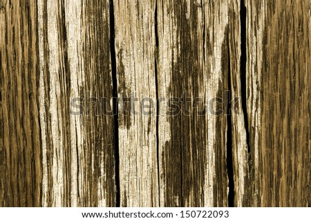 Close up of vertically textured old barn wood showing grain and peeling paint/Weathered Barn Wood/ Close up of vertically textured bray and brown old barn wood showing grain and peeling paint - stock photo