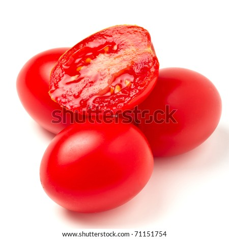 Close up of Vibrant italian plum tomatoes from low perspective. - stock photo