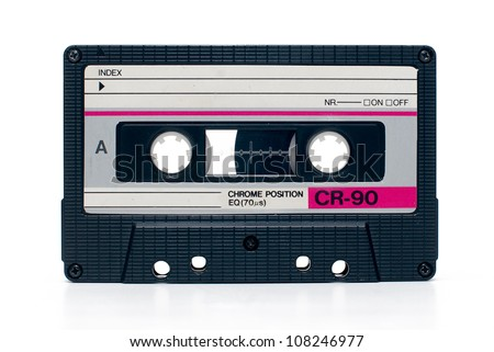 close up of vintage audio tape cassette isolated - stock photo