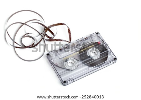 close up of vintage audio tape cassette isolated on white with  - stock photo