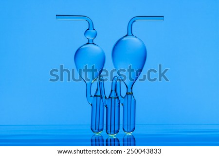 Close up of vintage laboratory equipment - glass flask for gas purification - stock photo