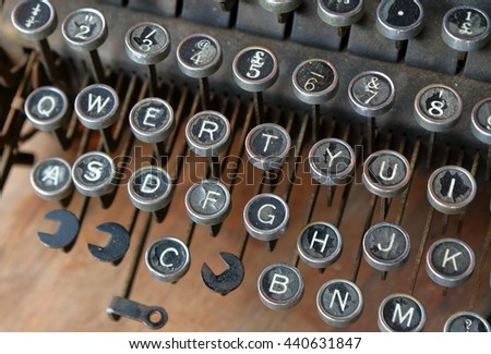 Close-up of vintage manual typewriter keys with shallow depth of field effect - stock photo