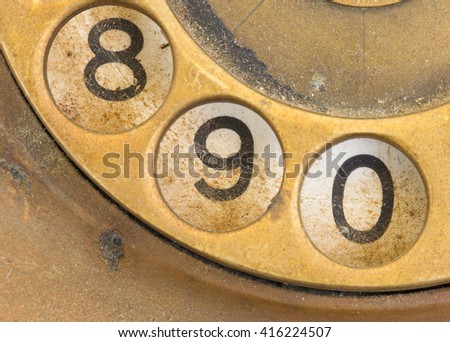 Close up of Vintage phone dial, dirty and scratched - 9 - stock photo