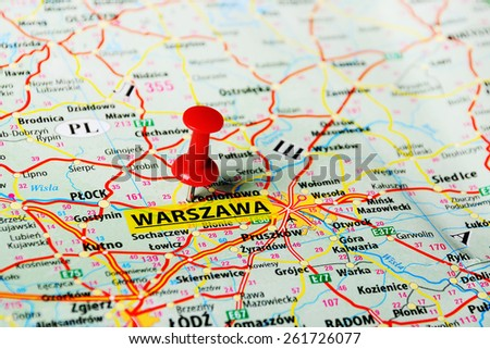 Close up of   Warsaw  , Poland  map with red pin - stock photo