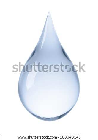 close-up of water drop isolated on white - stock photo