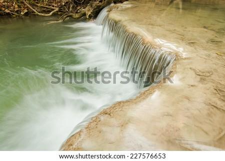 Close-up of water fall Huay Mae Khamin Kanchanaburi Thailand - stock photo