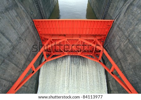 close up of Water gate of Dam in Thailand - stock photo