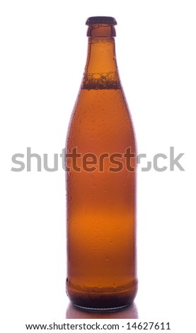 Close-up of weeping beer bottle - stock photo
