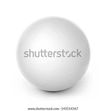 Close-up of white ball isolated on white background. Studio shot with clipping path - stock photo