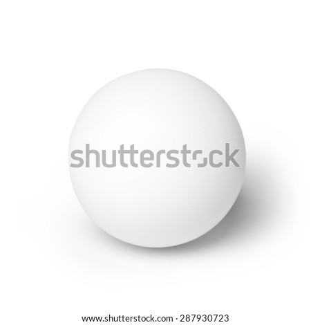 Close-up of white ball isolated on white background. Studio shot with clipping path. - stock photo