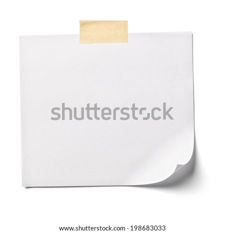 close up of  white note paper on white background with clipping path - stock photo