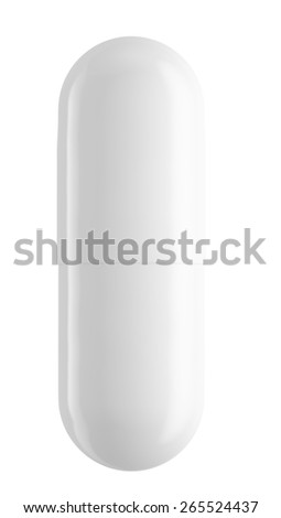 Close up of white pill capsule isolated on white, 3d illustration - stock photo