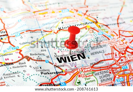Close up of Wien , Austria  map with red pin    - Travel concept - stock photo