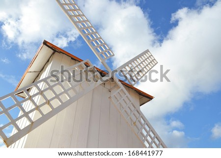 close up of wind turbine on a field - stock photo